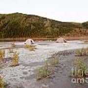 Canoe Tent Camp At Yukon River In Taiga Wilderness Poster