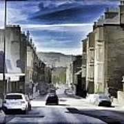 Car In A Queue Waiting For A Signal In Edinburgh Poster