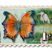 1 Cent Butterfly Stamp Poster