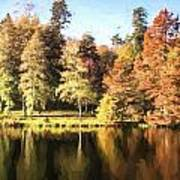 Cezanne Style Digital Painting Beautiful Landscape Of Autumn Trees And Colors Reflected In Lake Poster