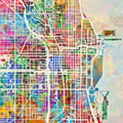 Chicago City Street Map 1 Poster