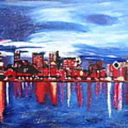 Chicago Skyline At Night Poster