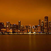 Chicago Skyline In Fog With Reflection Poster