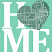 Chicago Street Map Home Heart - Chicago Illinois Road Map In A H Poster