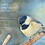 Chickadee With Verse Poster