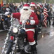 Christmas Toys For Tots Santa On Motorcycle Casa Grande Arizona 2004 Poster