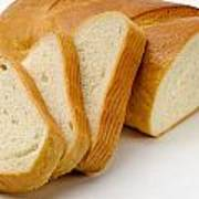 Close-up Of White Bread With Slices Poster