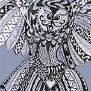 Close Up Owl Blue Poster