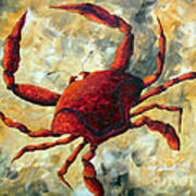 Coastal Crab Decorative Painting Original Art Coastal Luxe Crab By Madart Poster