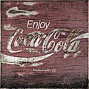 Coca Cola Pink Grunge Sign Poster