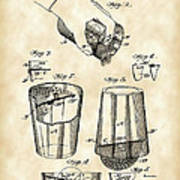 Cocktail Mixer And Strainer Patent 1902 - Vintage Poster