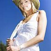 Cowgirl In Dress And Hat Poster