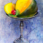 Cut Mango On Sterling Silver Dish Poster