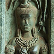 Dancing Goddesses Carving At Angkor Wat Cambodia Poster