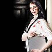 Dead Female Zombie Worker Holding Briefcase Poster