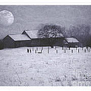 December Moonrise Farmstead Poster