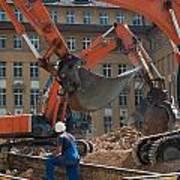 Demolition Vehicles At Work Poster