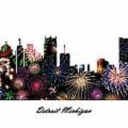 Detroit Michigan Fireworks Skyline Poster