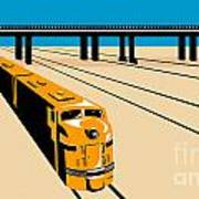 Diesel Train High Angle Retro Poster