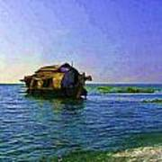 Digital Oil Painting - A Houseboat Moving Placidly Through A Coastal Lagoon In Alleppey Poster