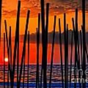 Digital Painting Of Looking Through Beach Umbrella Poles At Sunset Poster