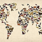 Dogs Map Of The World Map Poster