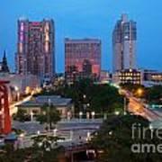 Downtown San Antonio Texas Skyline Poster