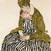 Edith With Striped Dress Sitting Poster