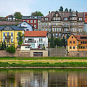 Elbe River Town Poster
