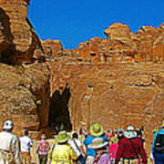 Entering Mile-long And 600 Foot High Gorge Leading To Treasury In Petra-jordan  Poster