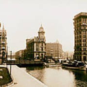 Erie Canal On Salina Street In Syracuse New York - Circa 1904 Poster