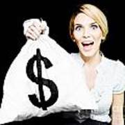Euphoric Business Woman Holding Unexpected Windfall Poster