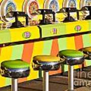 Evergreen State Fair Midway Game With Coloful Stools And Squirt  Poster