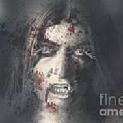 Evil Dead Vampire Woman Looking In Bloody Window Poster