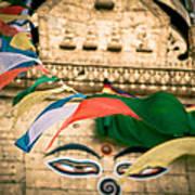 Eye Boudhanath Stupa In Nepal Poster by Raimond Klavins