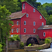 Faded Red Water Mill On The Dam Of The Raritan River Poster