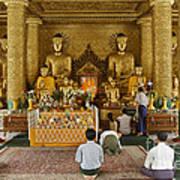 faithful Buddhists praying at Buddha Statues in SHWEDAGON PAGODA Poster