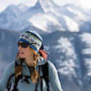 Female Backcountry Skier Skinning Poster