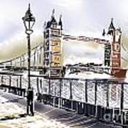 Fine Art Drawing The Tower Bridge In London Uk Poster