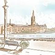 Fine Art Landscape Sketch Of Stockholm Sweden  Poster