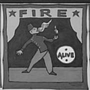 Fire Eater In Black And White Poster