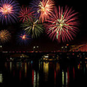 Fireworks Over The Broadway Bridge Poster by Robert Camp