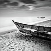 Fisherman Boat At Beach In Black And Poster