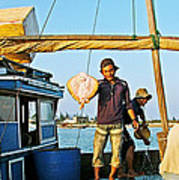 Fisherman With A Skate On Thu Bon River In Hoi An-vietnam  Poster