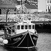 fishing boat tied up in rathlin harbour Rathlin Island northern ireland Poster