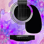 Floral Abstract Guitar 17 Poster