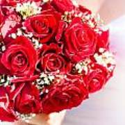 Floral Rose Boquet Held By Bride Poster