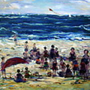 Flying A Kite At The Beach Poster
