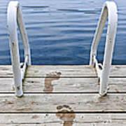 Footprints On Dock At Summer Lake Poster
