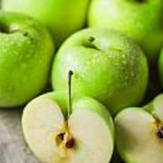 Fresh Healthy Green Apples On Wooden Background Poster